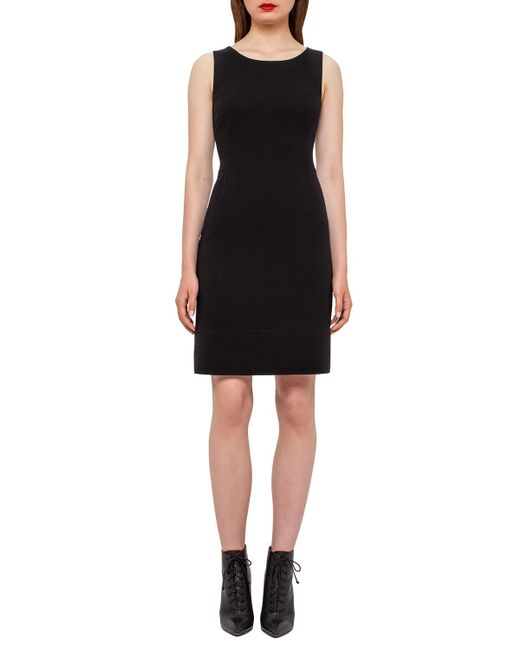Akris - Black Wool Crepe Double-hem Dress - Lyst