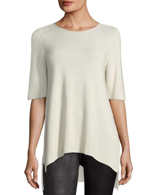 Eileen Fisher | Black Half-sleeve Tencel Links Sweater | Lyst