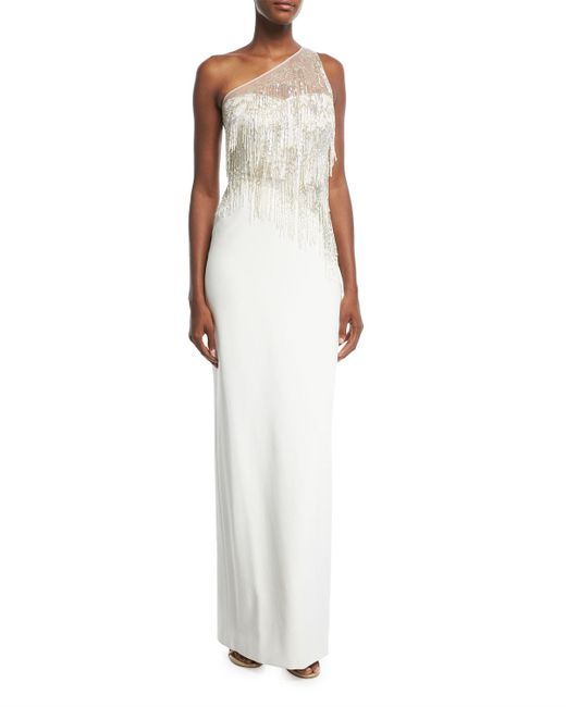 Pamella Roland | White One-shoulder Stretch-crepe Evening Gown With Beaded Fringe | Lyst