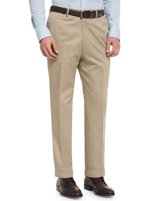 Brioni - Natural Phi Flat-front Cotton-cashmere Trousers for Men - Lyst