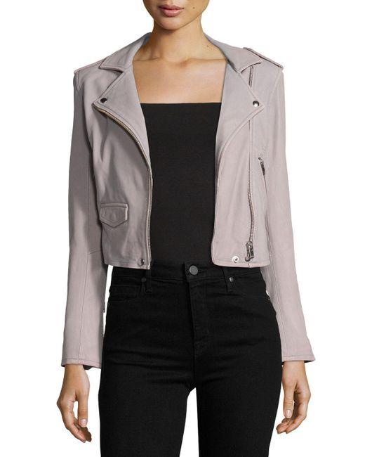 IRO - Gray Ashville Leather Moto Jacket - Lyst