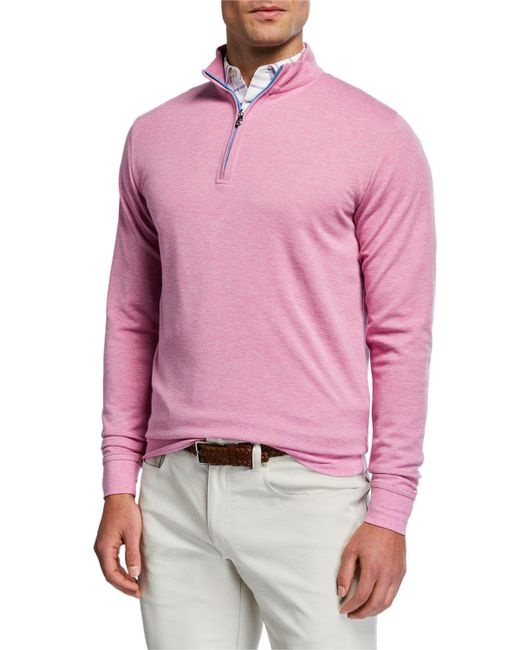 da38a6c6ba Peter Millar - Pink Men s Crown Comfort Interlock Zip Sweater for Men - Lyst