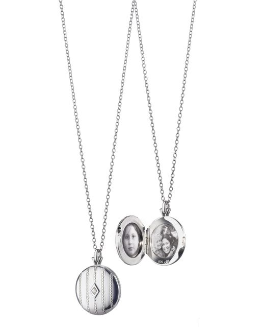 Monica Rich Kosann | Metallic Pinstripe Diamond Locket Necklace | Lyst