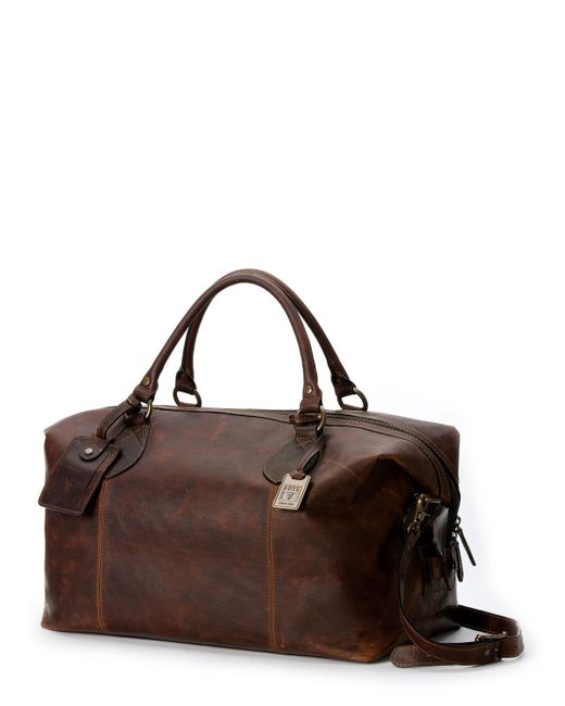 Frye Brown Logan Men S Leather Overnight Bag For Lyst