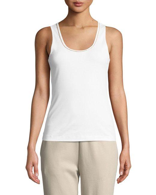 ef4a4eb06b85e Joan Vass - White Golden-chain Sleeveless Cotton Tank Top Plus Size - Lyst