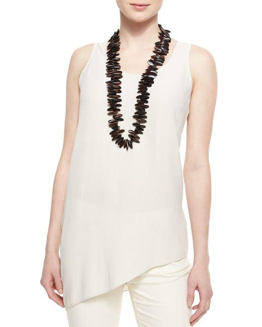 Eileen Fisher   White Silk Asymmetric Draped Shell   Lyst