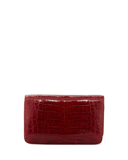 Nancy Gonzalez | Red Crocodile Clutch Bag With Strap | Lyst
