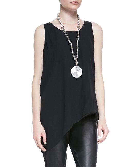 Eileen Fisher   Black Silk Asymmetric Draped Shell   Lyst