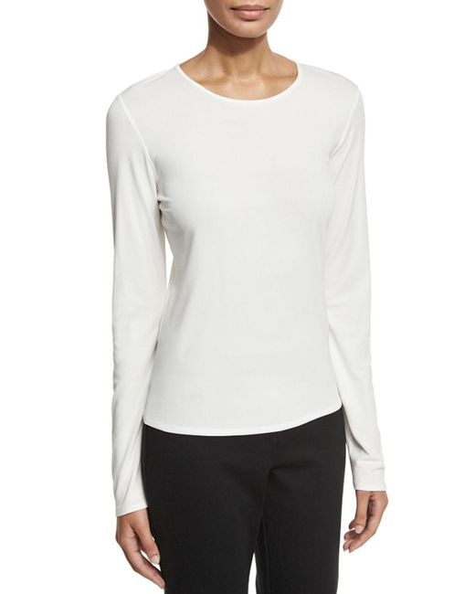 Eileen Fisher | White Long-sleeve Silk Crewneck Tee | Lyst