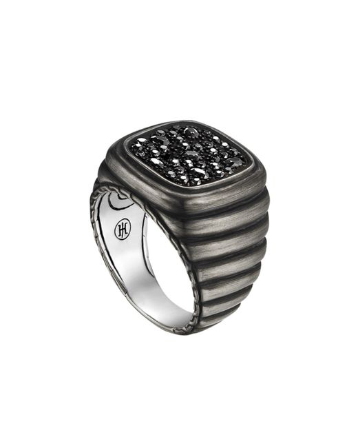 John Hardy | Metallic Bedeg Linear Line Square Ring With Black Sapphire | Lyst