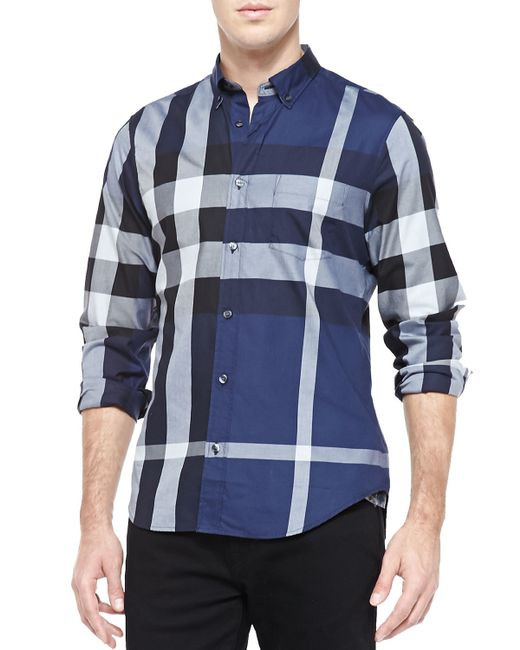 Burberry Brit | Blue Fred Exploded Check Button-Down Cotton Shirt for Men | Lyst