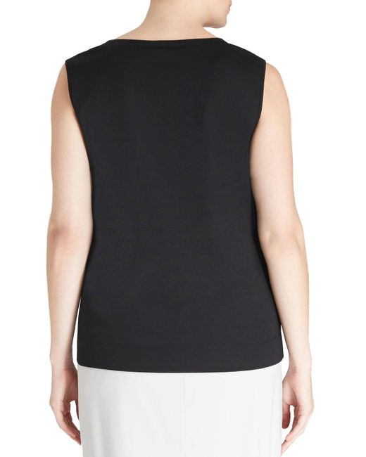 Lafayette 148 New York | Black Scoop-neck Sleeveless Cotton Tee | Lyst