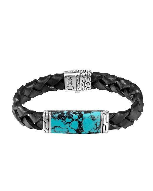 John Hardy | Blue Woven Station And Turquoise Stone Bracelet for Men | Lyst