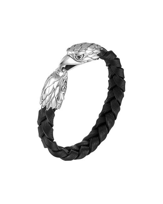 John Hardy | Metallic Silver Eagle Head Leather Bracelet for Men | Lyst