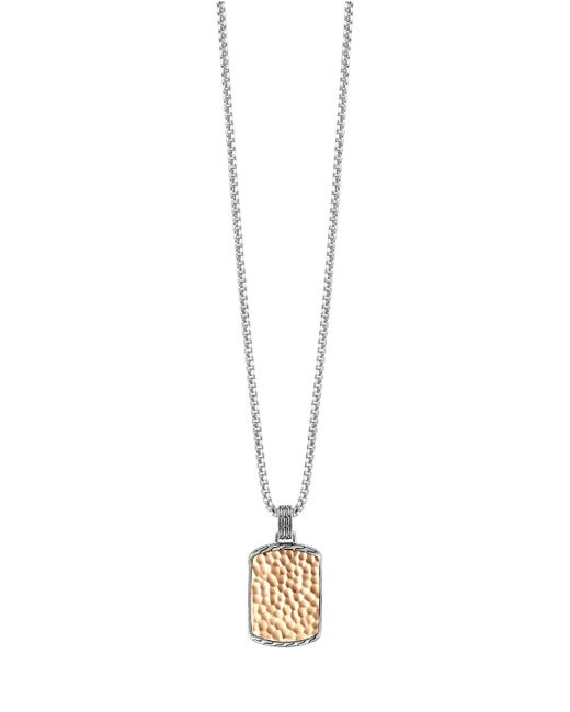 John Hardy | Metallic Hammered Box Chain Tag Necklace | Lyst