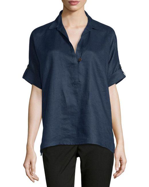 Go> By Go Silk | Green Oversized Short-sleeve Linen Tunic | Lyst