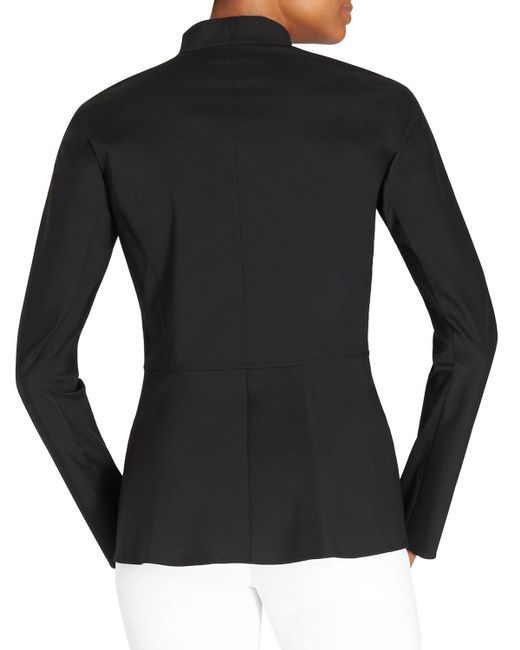 Lafayette 148 New York | Black Kerry Zip-Front Blouse | Lyst