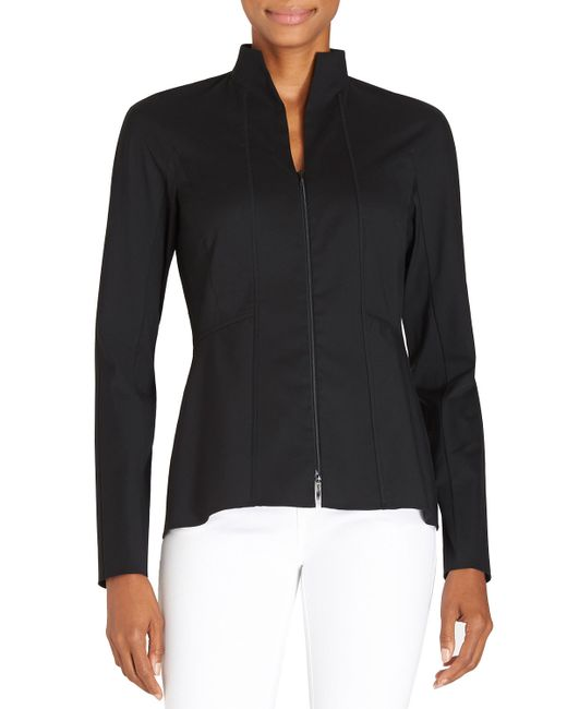 Lafayette 148 New York | Black Kerry Zip-front Blouse W/ Stand Collar | Lyst