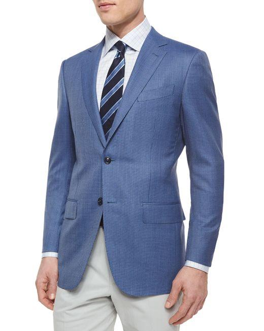 Ermenegildo Zegna | Blue Micro-check Wool Blazer for Men | Lyst