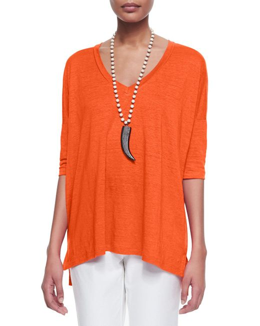 Eileen Fisher | Orange Linen V-neck Boxy Tunic | Lyst