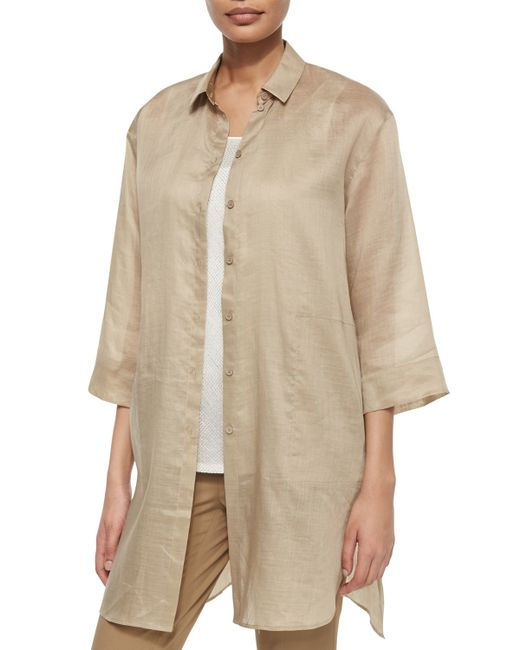 Lafayette 148 New York | Metallic Melody Long Shirtdress Blouse | Lyst