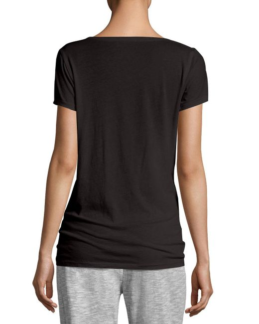 Skin | Black Easy V-neck Cotton Tee | Lyst