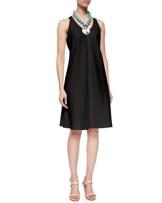 Eileen Fisher | Black Sleeveless Linen Bias Dress | Lyst