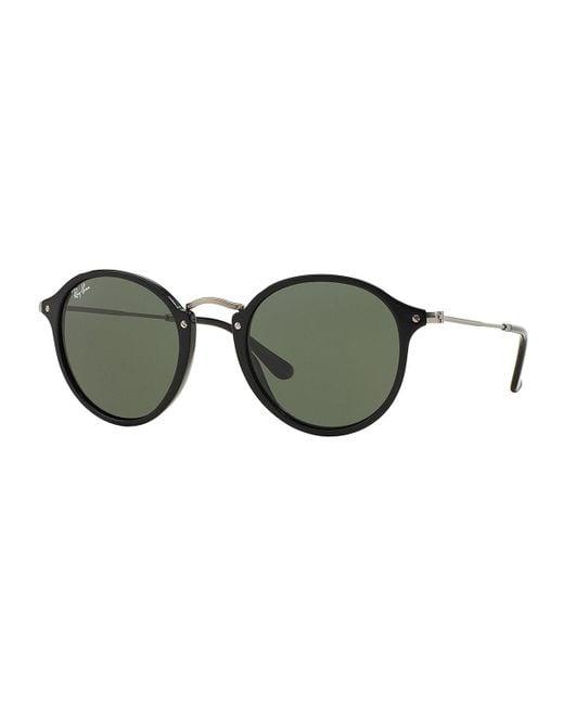 Ray-Ban   Black Round Plastic/metal Sunglasses   Lyst