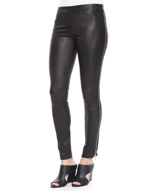 Vince   Black Side-zip Leather Leggings   Lyst