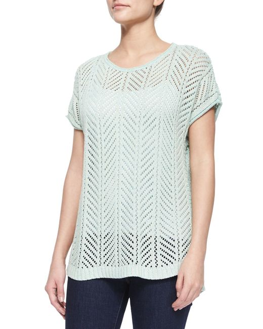 Belford | Green Short-sleeve Knit Pointelle Popover Top | Lyst