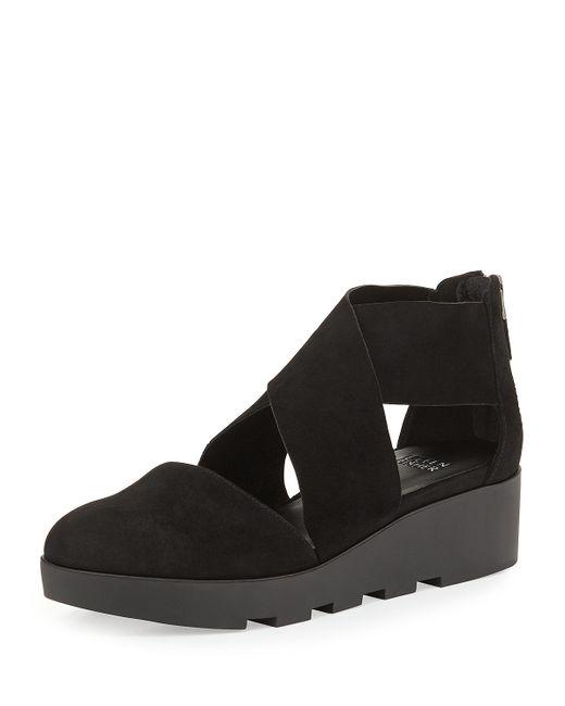 Eileen Fisher | Black Buoy Suede Wedge Sandals | Lyst
