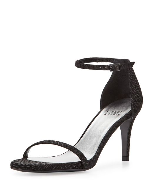 Stuart Weitzman | Black Naked Textured Leather Sandals | Lyst