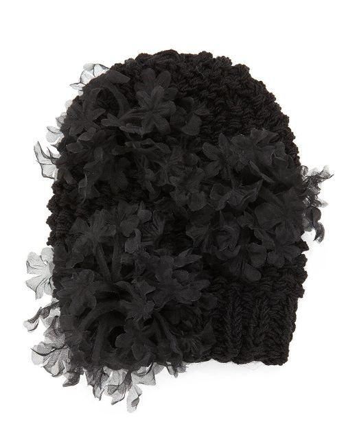 Gigi Burris Millinery | Black Bloom Knit Beanie Hat With Organza Flowers | Lyst