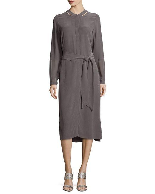 Go> By Go Silk | Gray Long-sleeve Silk Shirtdress | Lyst