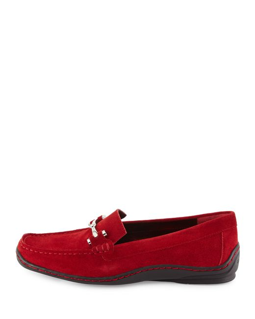 Donald J Pliner | Red Lianna Oiled-Suede Loafers | Lyst