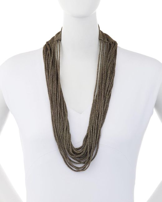Eileen Fisher | Black Sparkle Knit Scarf Necklace | Lyst