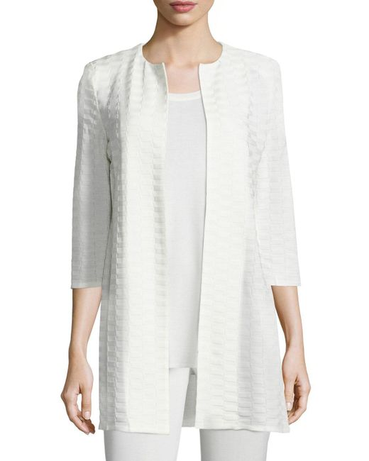 Misook | Natural Textured Long Open Jacket | Lyst