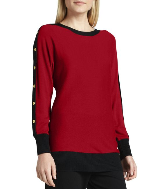 Joan Vass | Red Colorblock Button-sleeve Sweater | Lyst