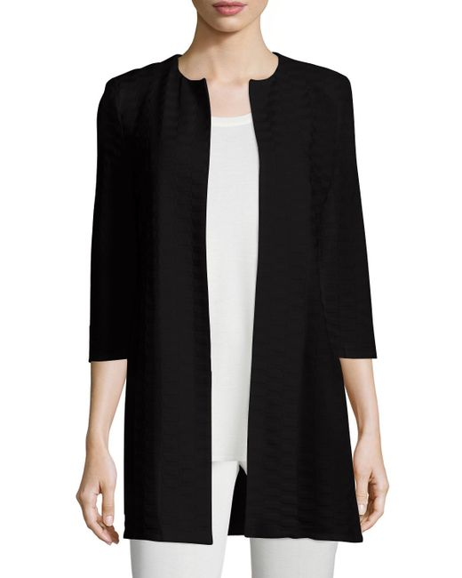 Misook | Black Textured Long Open Jacket | Lyst