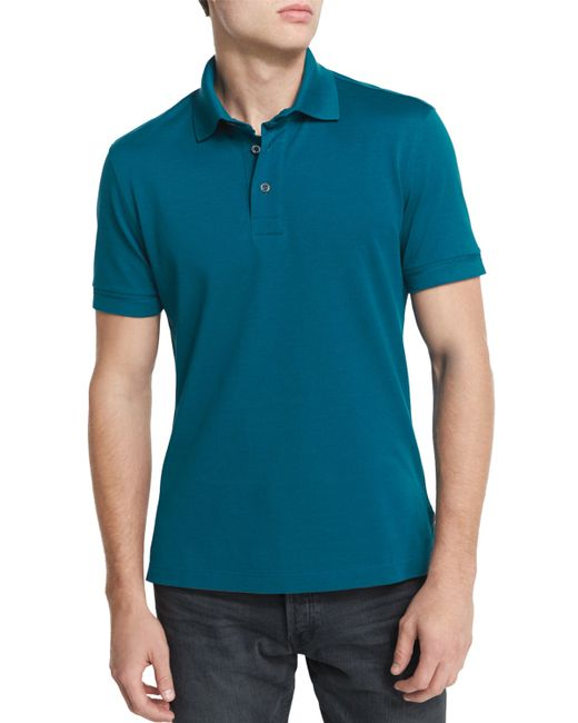Tom ford short sleeve pique polo shirt in teal for men for Mens teal polo shirt