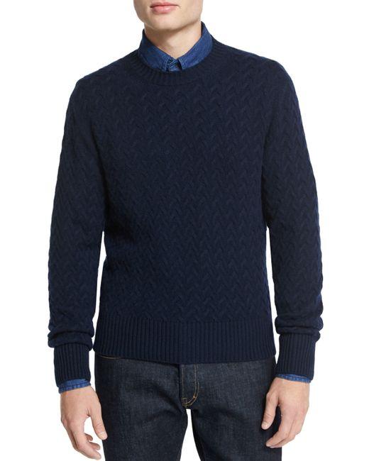 tom ford melange cable knit crewneck sweater in blue for. Black Bedroom Furniture Sets. Home Design Ideas