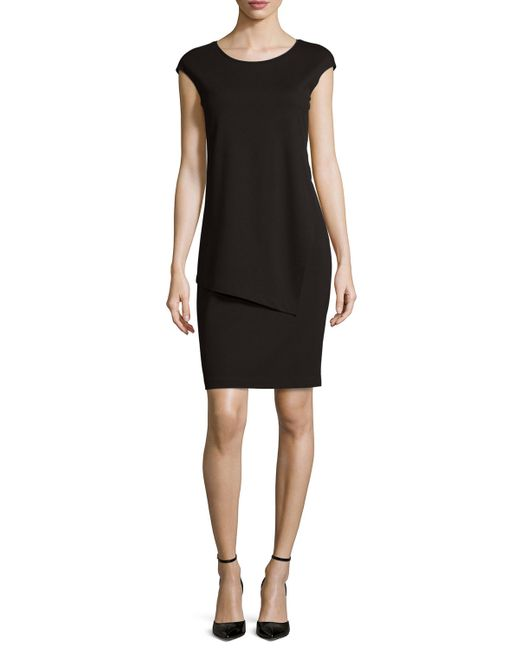 Lafayette 148 New York | Black Cap-sleeve Layered Sheath Dress | Lyst