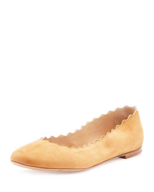 Chloé | Natural Scalloped Suede Ballet Flats | Lyst