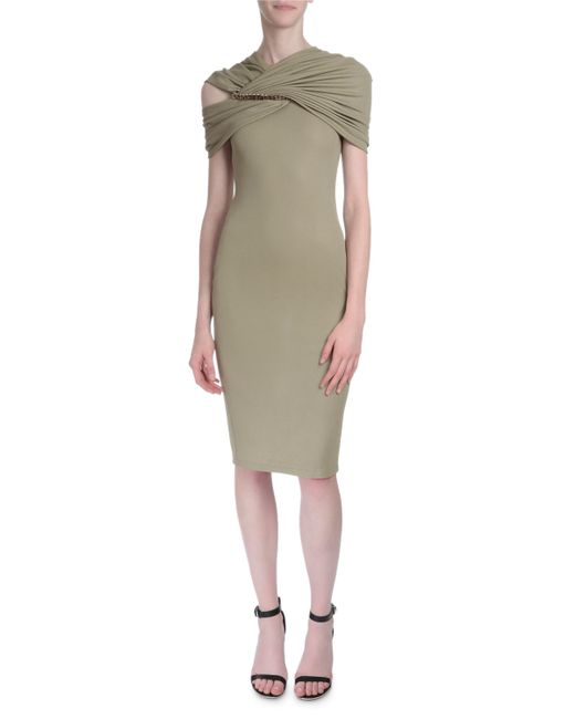 Givenchy | Natural Draped-shoulder Fitted Dress | Lyst