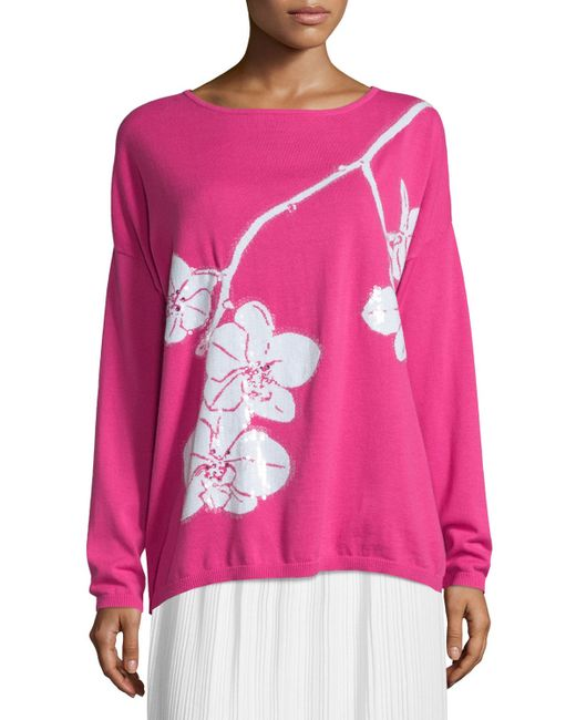 Joan Vass | Pink Sequined Orchid Intarsia Sweater | Lyst