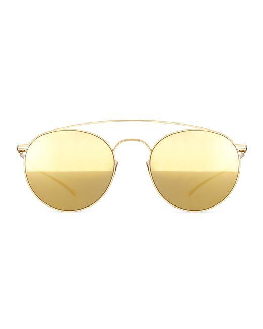 mykita round stainless steel double bridge sunglasses in metallic gold lyst. Black Bedroom Furniture Sets. Home Design Ideas