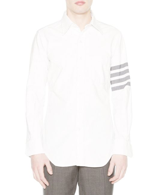 Thom browne solid arm stripe oxford shirt in white for men for Thom browne white shirt