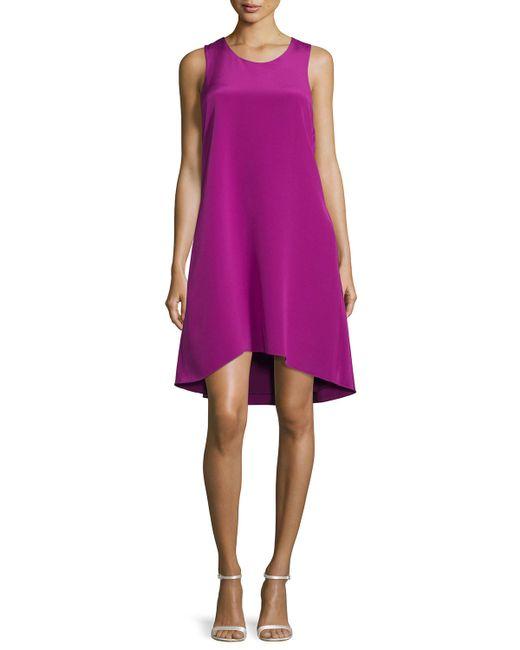 3.1 Phillip Lim | Purple Sleeveless Ruffle-trim Silk Shift Dress | Lyst