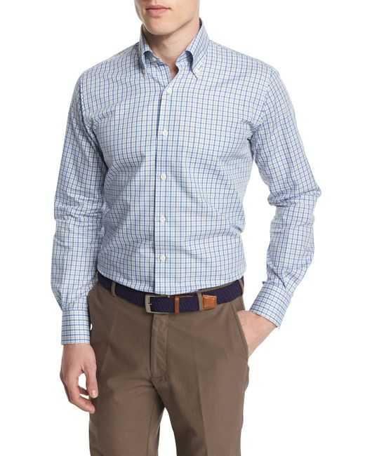 peter millar check long sleeve sport shirt in blue for men