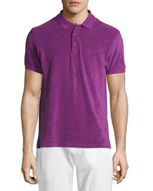 Vilebrequin terry short sleeve polo shirt in purple for for Mens terry cloth polo shirt